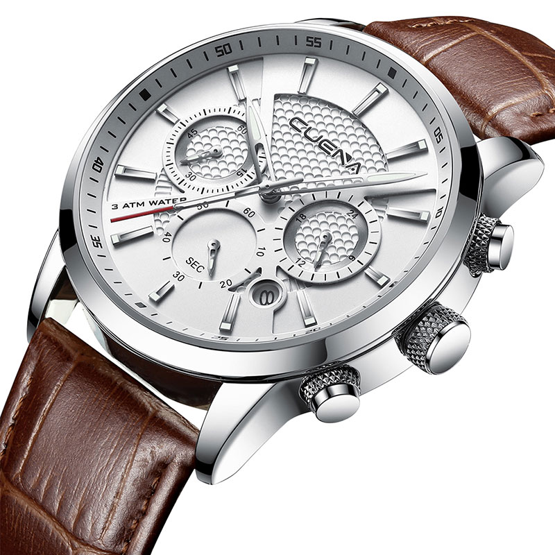 CUENA Luxus Männer Uhren Lederband Stoppuhr Leuchtzeiger Kalender 30 Mt Wasserdichten männer Armbanduhr Quarz Männliche Uhr Braun