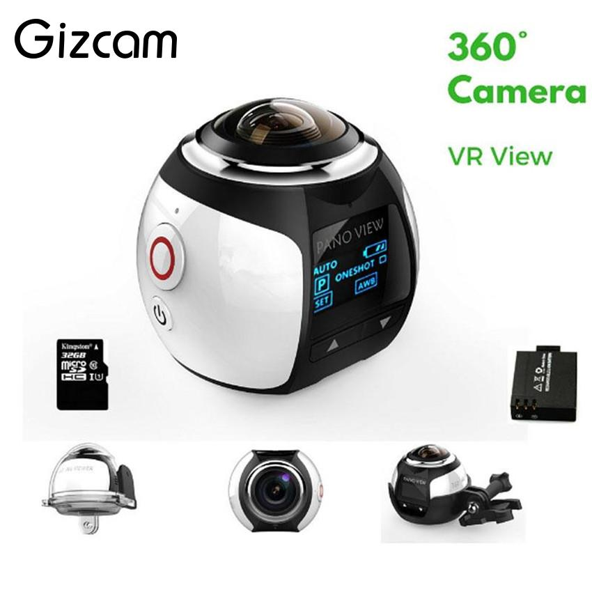 Gizcam 30m Underwater Waterproof 360 Degree Panoramic Video Camera Camcorder Ultra HD with Waterproof Accessories gizcam 30m underwater waterproof 360 degree panoramic video camera camcorder ultra hd with waterproof accessories
