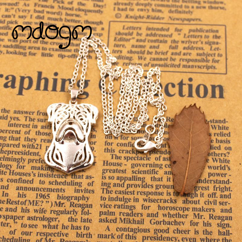 2018 Cute American Bulldog Necklace Dog Animal Pendant Gold Silver Plated Jewelry For Women Male Female Girls Ladies Kids N020