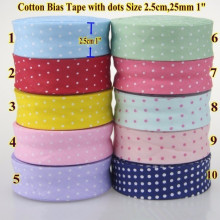 Small Dot 100% Cotton Bias Binding Tape Trim Ribbon  25mm,20mm 10meter Fold Sewing Accessories