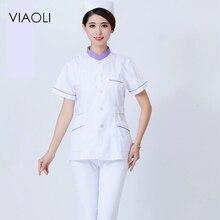 Viaoli 2017  New Summer hospital medical scrub set  uniform fashionable design slim fit nurse work wear