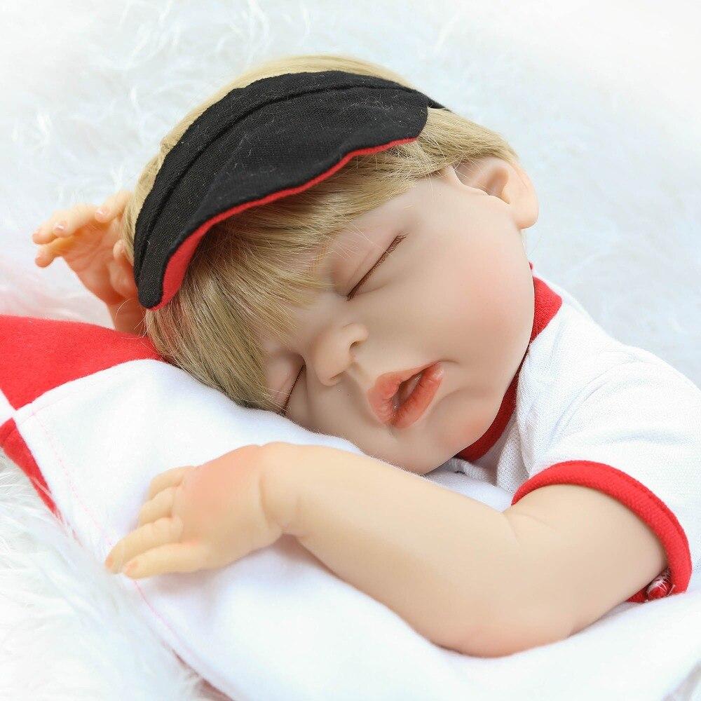 """Bebe boy reborn dolls 22"""" 55cm full soft silicone reborn baby dolls blond hair Sportswear girl doll toys alive bonecas"""