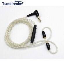 DIY кабель MMCX для Shure SE215 SE535 SE846 UE900 Наушники Замена кабеля с серебряным покрытием гарнитура кабель с микрофоном для iPhone xiaomi