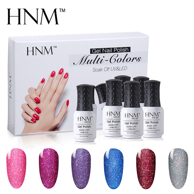 Hnm 6 Color 8ml Bling Neon Gel Nail Set 6pcs Lot Glitter Polish Sets