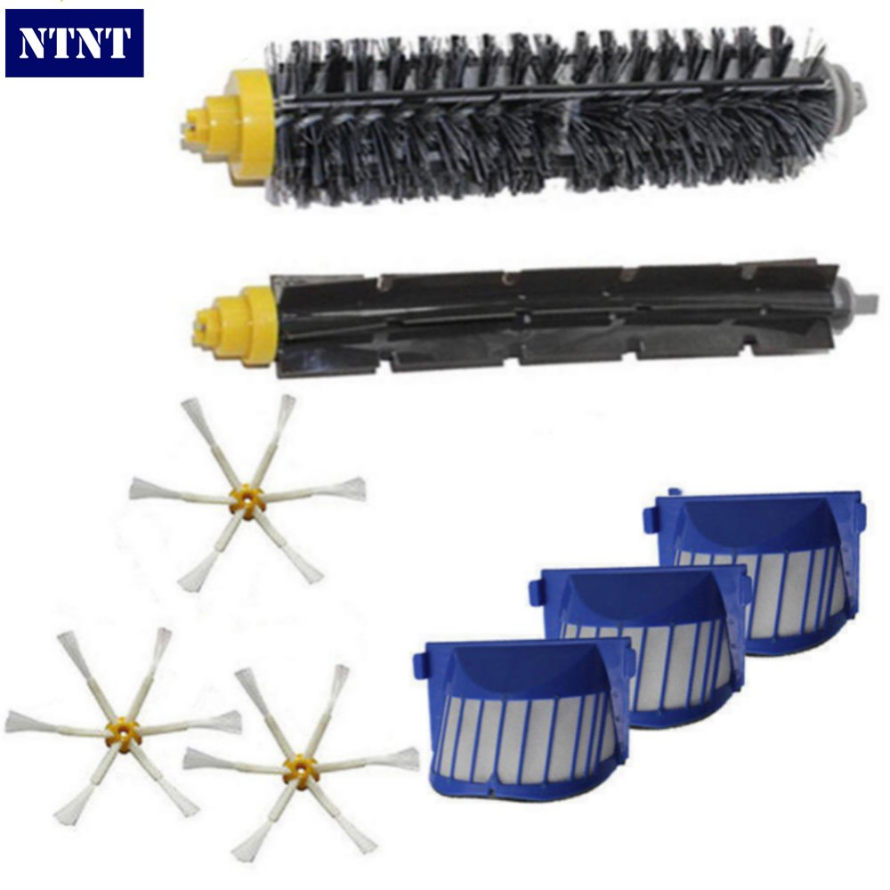 NTNT AeroVac Filter,Side Brush,Bristle and Flexible Beater Brush Combo for iRobot Roomba 600 610 620 625 630 650 660 bristle brush flexible beater brush fit for irobot roomba 500 600 700 series 550 650 660 760 770 780 790 vacuum cleaner parts
