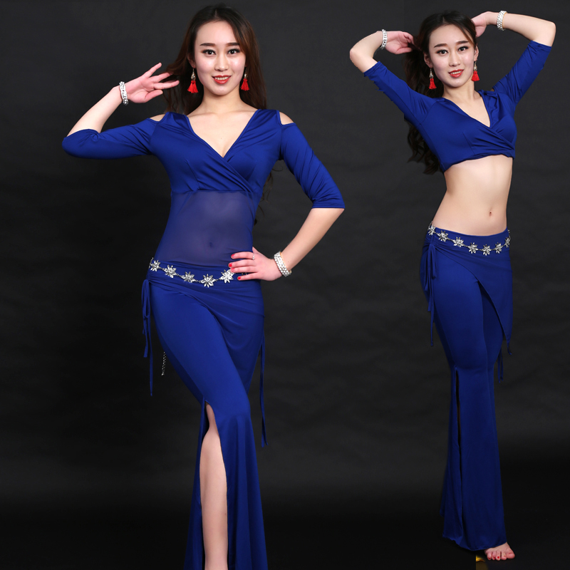 Belly Dance Costumes Milk Silk Professional Bellydance Top And Pants Oriental Women Training Clothes Tribal Performance DNV10564