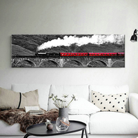 Modern White Snow Red Train Shuttles In The Woods Art Wall Canvas Painting Study Room Office Foyer Mural Cafe Decor Print Poster