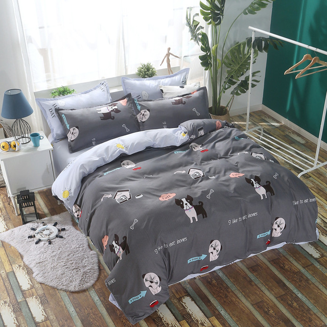 Cartoon Dog Flamingos Pattern Boy Kidsbedclothes Bedding Sets Bed Cover Sheet Duvet