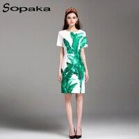 SOPAKA High Quality 2017 Summer Lastest Runway Designer Midi Women Dress Short Green Floral Leaf Printed