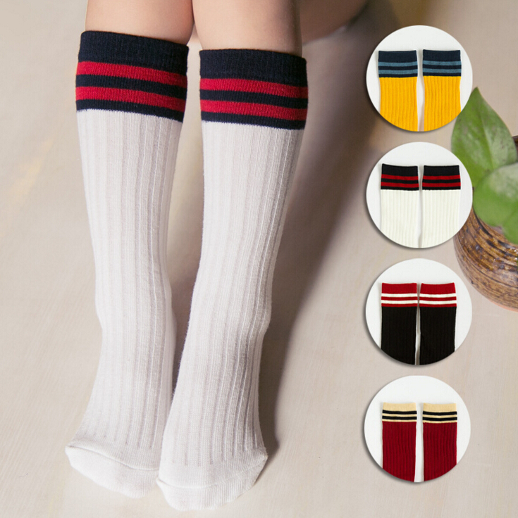 ca6849e0814 All Seasons Kids Cotton Top Striped Socks Girls Patchwork Knee High Socks 0  5 Years Baby Socks Infant Toddler Socks-in Socks from Mother   Kids on ...