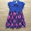 Nannette marca, 10 pçs/lote, 2-6X yrs meninas vestido de brim, Princesa vestido xadrez Nannette - menina da criança