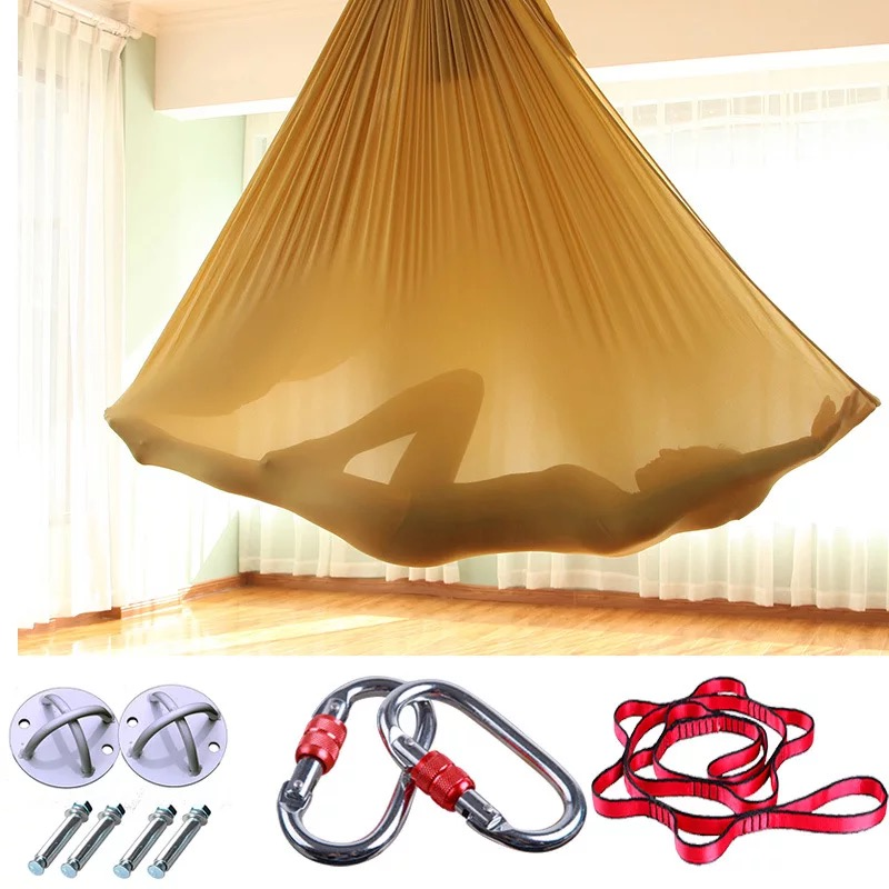 Elastic 5 meters Aerial Yoga Hammock Swing Latest Multifunction Anti-gravity Yoga belts for yoga training Yoga for sporting