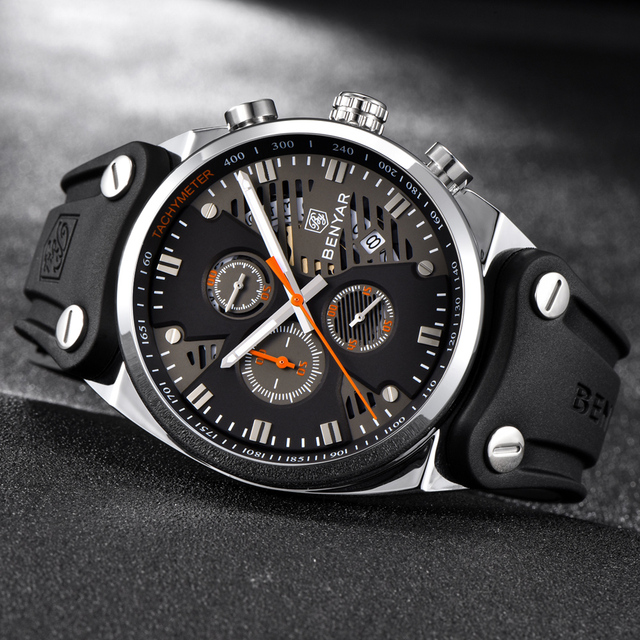 BENYAR 2018 Waterproof 30M Outdoor Hollow Sports Chronograph Watch Skeleton Calendar Men's Quartz Watches support dropshipping 6