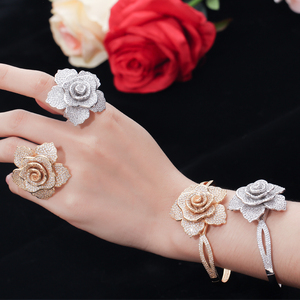 Image 2 - CWWZircons Luxury Cubic Zirconia Large Gold Geometric Flower Women Wedding Party Rings and Bangle Jewelry Sets for Brides T323