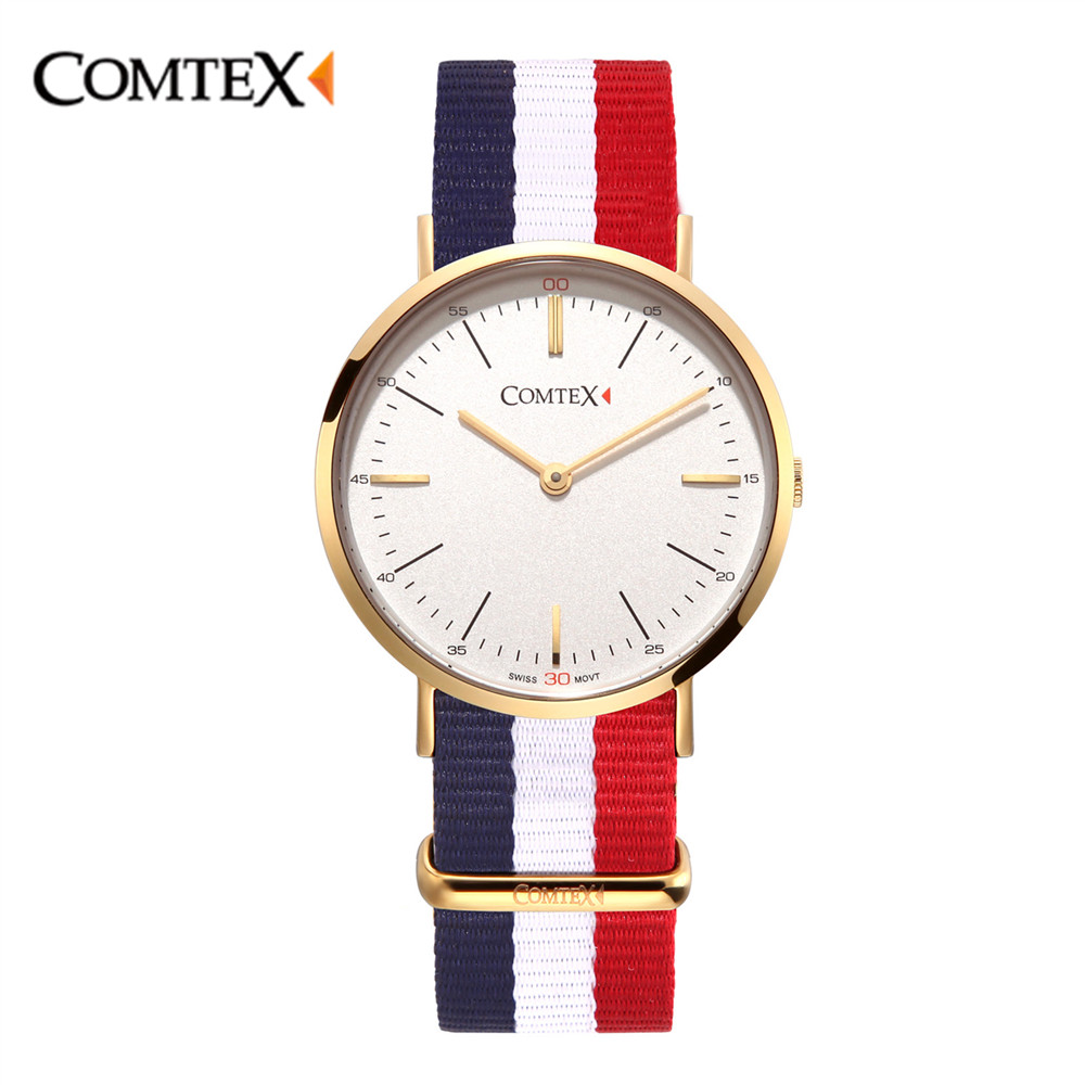 COMTEX Women Watch Rose Gold Lady Canvas Summer Wristwatch Fashion Sport Quartz Girl Clock Simple Waterproof Sapphire reloj gift
