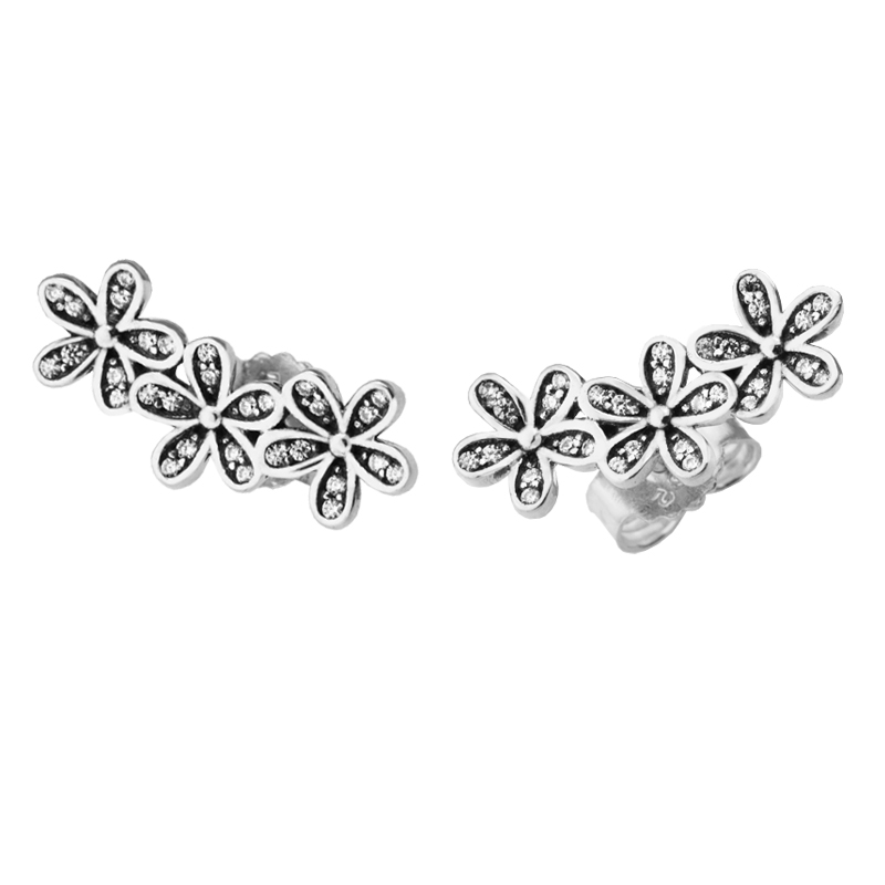 Pandulaso Dazzling Daisy Silver Stud Earrings for Women Fashion Silver 925 Jewelry Spring Flower Crystal Earrings Silver Jewelry pair of dazzling crystal pendant alloy earrings for women