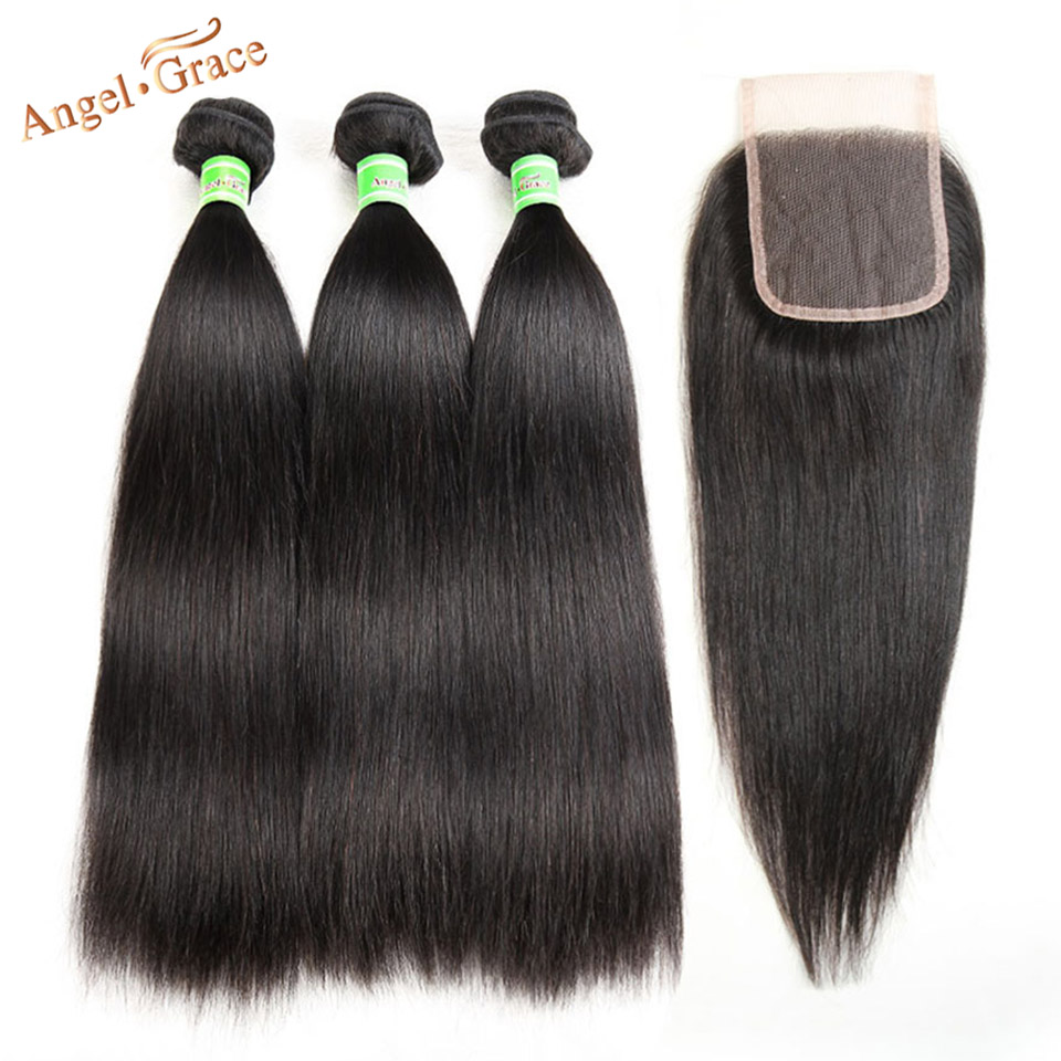 Angel Grace Hair Brazilian Straight Human Hair 3 Bundles With Closure Natural Color 100 Remy Human
