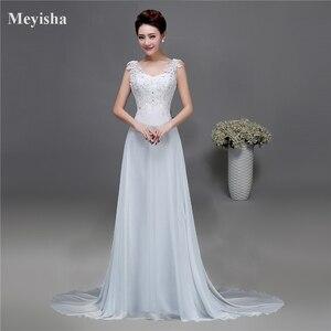 Image 1 - ZJ9054 Corset 2019 Lantejoulas contas de Cristal Do Laço Do Marfim Branco Chiffon Vestidos de Casamento para noivas plus size maxi formal tamanho 2  26 W