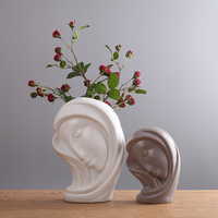 Nordic gray white avatar design porcelain flower vase crafts figurine home decor ceramic art decorations home accessories