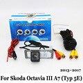 Para Skoda Octavia III A7 (Typ 5E) MK3 2013 ~ 2017/RCA Fio Ou Sem Fio/HD Ampla Ângulo Da Lente/CCD Night Vision Rear View câmera