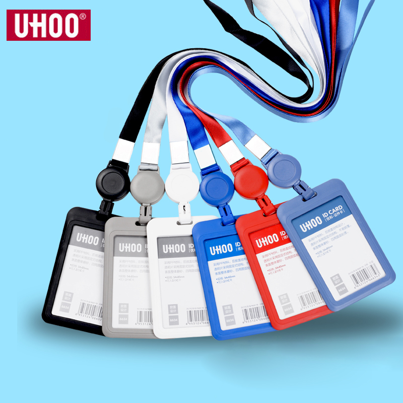 UHOO Ski Pass Retractable ID Card Holder With Neck Strap High Quality Name Badges Identity Card Holder Wholesale