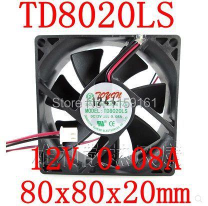 משלוח חינם חדש המקורי TD8020LS 12V 0.08A 8CM 80 * 80 * 20MM מעריץ שקט