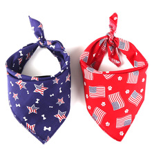 American Flag Dog Bandana Scarf Pack USA Flag Dog Scarf July 4th Dog Bandanas Triangle Bib for Small Medium Dogs все цены