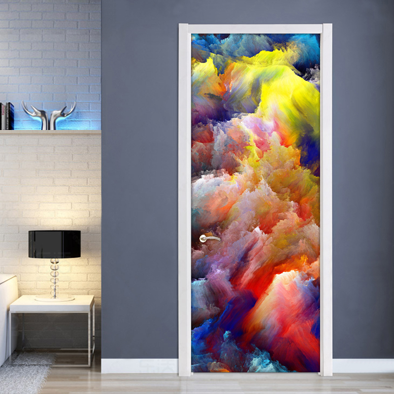 High Quality Modern 3D Color Clouds Abstract Art Wall Painting PVC Self-adhesive Living Room Door Mural Wallpaper Home Decor pentium horse living room bedroom door mural wallpaper sticker pvc self adhesive waterproof wall papers home decor wall painting