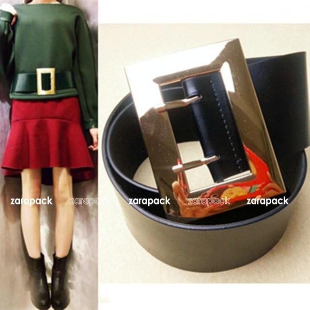 New Designer Mulheres Moda Cinto Largo Cinto De Couro Genuíno com Assinatura Gold Tone Square Fivela S M