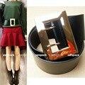 Nuevo Diseñador Cinturón Ancho Cinturón de Cuero Genuino de Las Mujeres de La Manera con La Firma Gold Tone Square Hebilla Sm