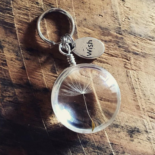 3PCS 25MM Real Dandelion Seed In Solid Round  Keyring Wish Keychain Dandelion Keychain Friend Gift For Her