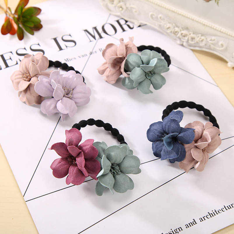 Two Cloth Flower Red Green Pink Blue Elastic Hair Bands Ponytail Holders Headwear Hair Accessories for Women
