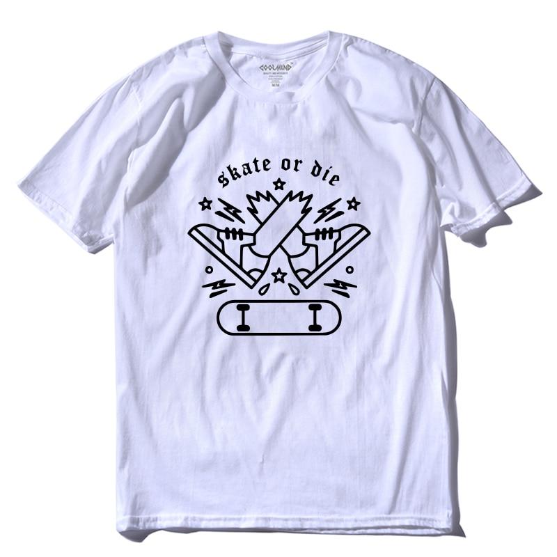 COOLMIND SK0115A 100% cotton tee shirts skate print men T shirt summer cool Tshirt short sleeve skateboard t-shirt  pthd Футболка