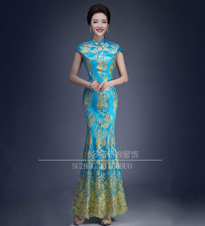 b459a026fa879 Red Blue Green Color Luxury Chinese Traditional Wedding Dress Qipao Mermaid  Wedding Dress Fish Tail Asian style Short Sleeve