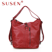 SUSEN 2107 women hobo shoulder bag cross body bag soft washed leather bag for fashion lady zipper closure bag