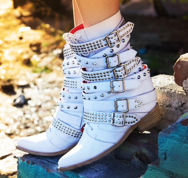 Spring autumn white leather height increasing rivets studded lace up martin boots for woman pointed toe buckles strap booties