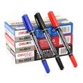 12 teile/los Twin Spitze Permanent Marker Fein/Medium Punkt 0 5mm 1mm Stift Marker Schwarz Blau Rot tinte Wasserdicht Öl Tinte Marker Stift-in Markierstifte aus Büro- und Schulmaterial bei