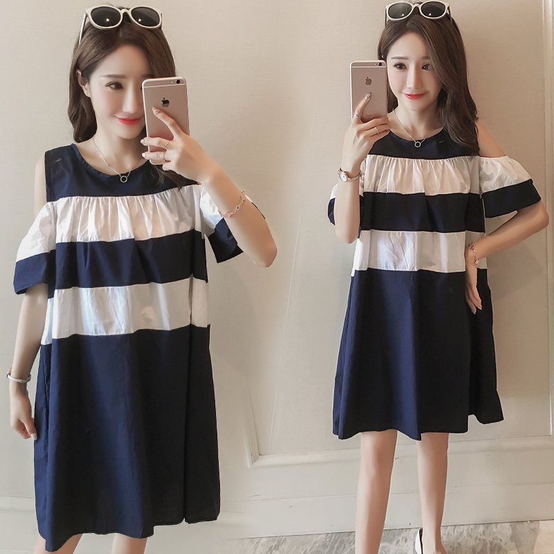2018 Spring/Summer New Maternity Clothes Summer Korean Cotton Strapless Shoulder Dress