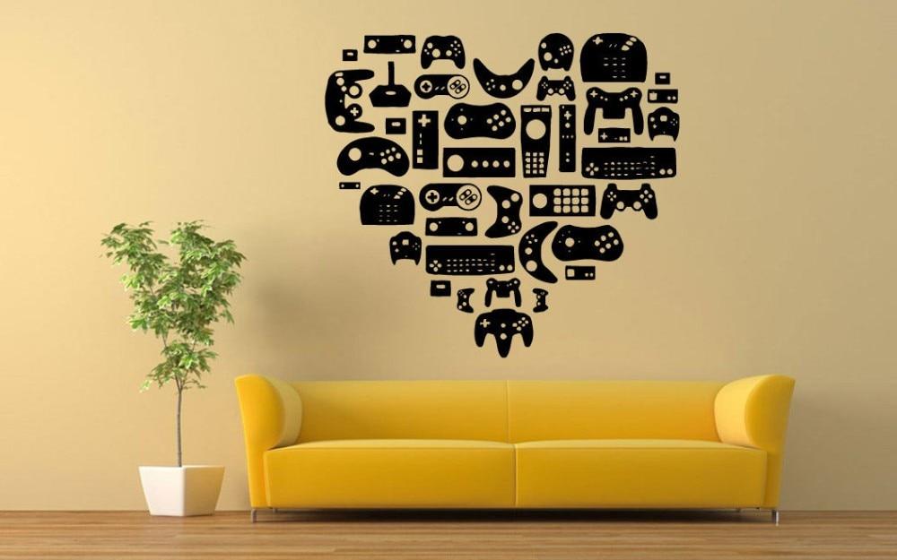 Gamer Heart Shape Vinyl Decal Wall Sticker Home Decor Wall Mural Art ...