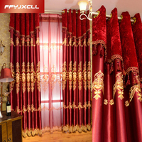 Red Festive Europe Embroidered tulle Window For living Room Bedroom Blackout Curtains Treatment Drapes Home Decor