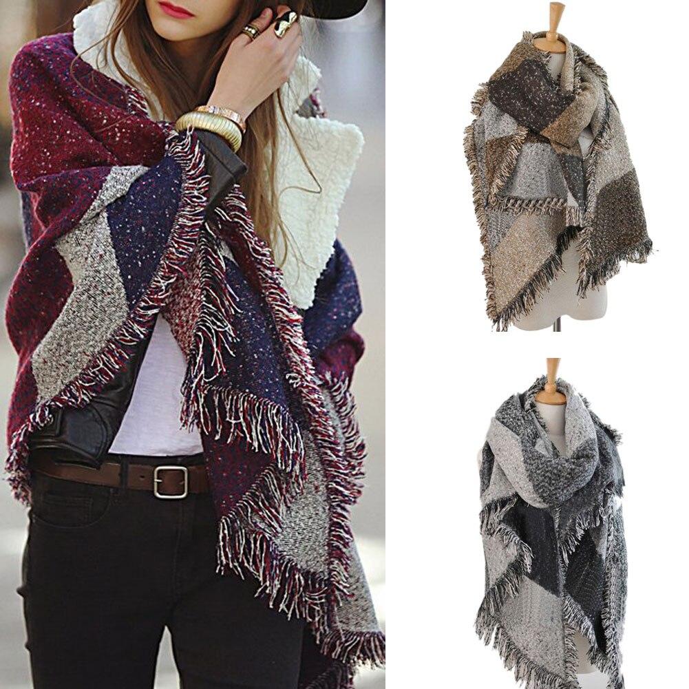 Hot Sale Women Fashion Warm Plaid Scarf Female Fringed Woolen Shawl Cashmere