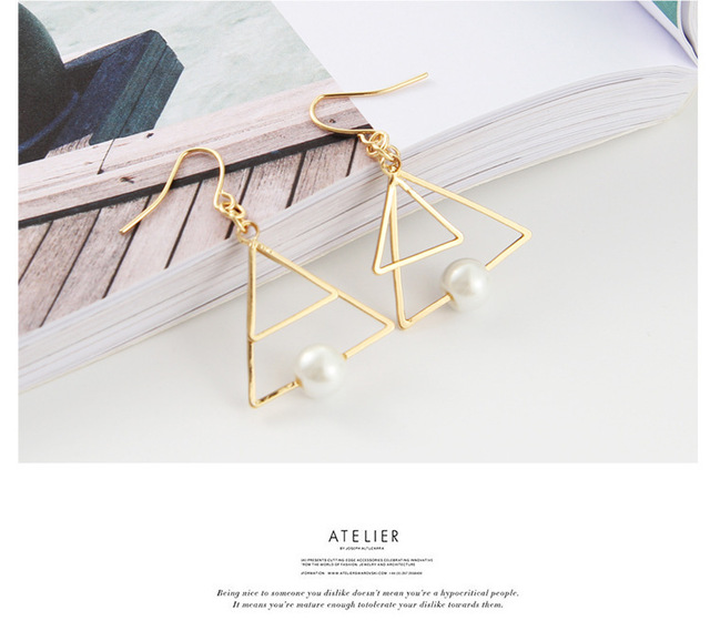 New European And American Style Jewelry Earrings Minimalist Retro Temperament  Triangle Multi - Layer Design Sense Of Earrings a2ff0ca9a775