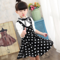 2Pcs Fashion Dot Baby Girls Dresses Spring Long Sleeve Girls Shirts+Dress Lace Bow Kids Princess Dress Clothes Sets Hot Sale