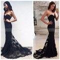 Vintage de Encaje Negro Sirena Vestido de Noche Largo 2017 Nuevo Simple Raso Cariño Barrer Tren de Las Mujeres Elegantes Vestidos de Baile Formales