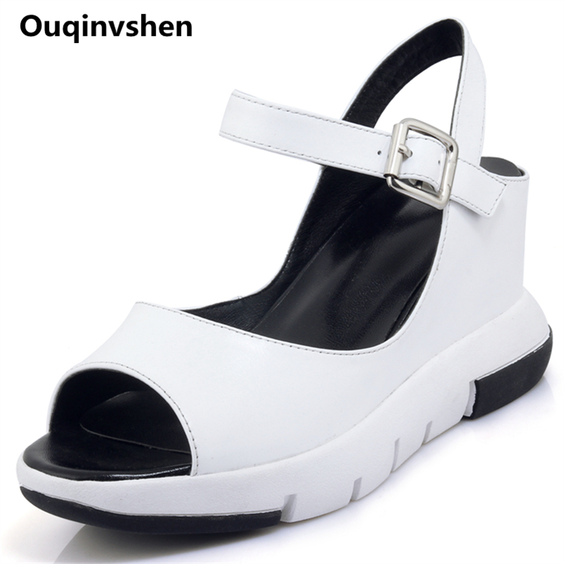Ouqinvshen Buckle Strap Platform szandál Peep Toe Nyári divat Bőr - Női cipő