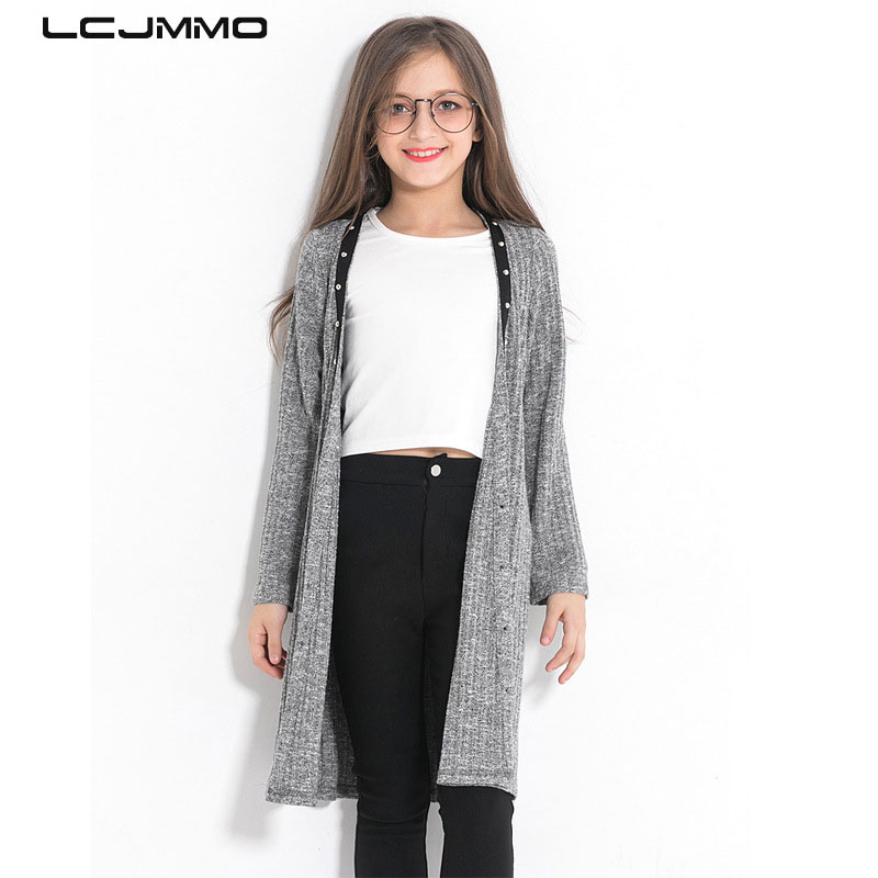 LCJMMO Girls Sweaters Autumn 2018 Long Outfit Button Knitted Kids Sweater Girls Cardigan Coat Tops For Girl Clothes 110-160cm