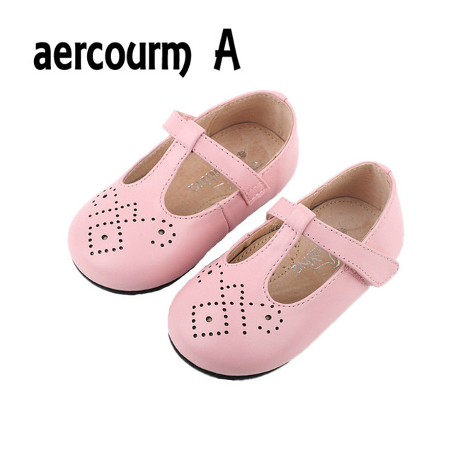 Aercourm A Spring NEW Children Shoes Hollow Girls Genuine Leather Casual Sneakers Princess Single Shoes Kids Performance Shoes