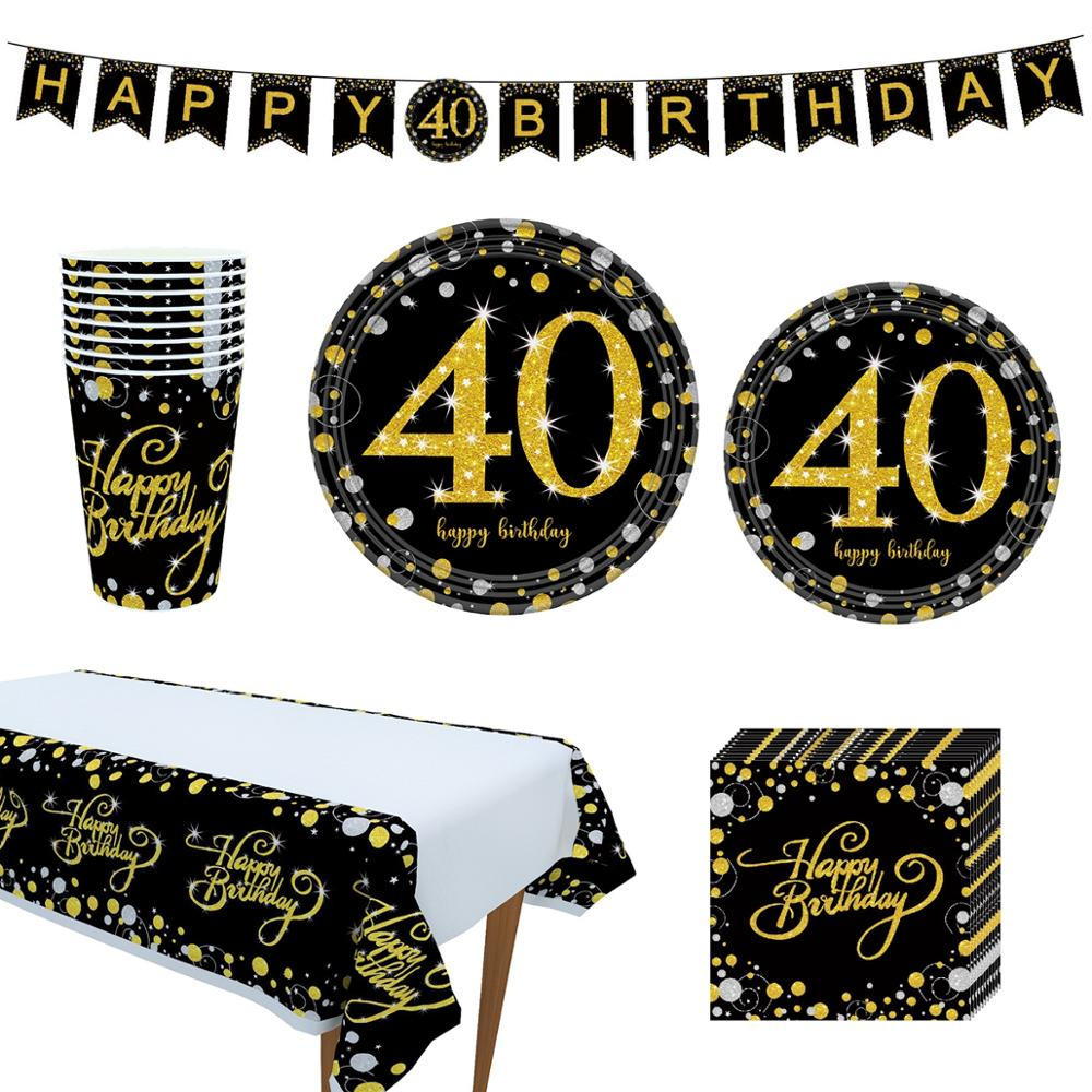 FENGRISE 30th 40th 50th 60th Birthday Decoration Adult Black Golden Number Balloon Decor 30 Years Old Party Happy Anniversary in Party DIY Decorations from Home Garden