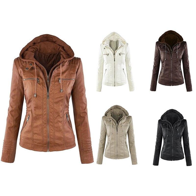 2018 European and American fashion long sleeve jacket female jacket detachable lapel longsleeve solid color zipper short   leather