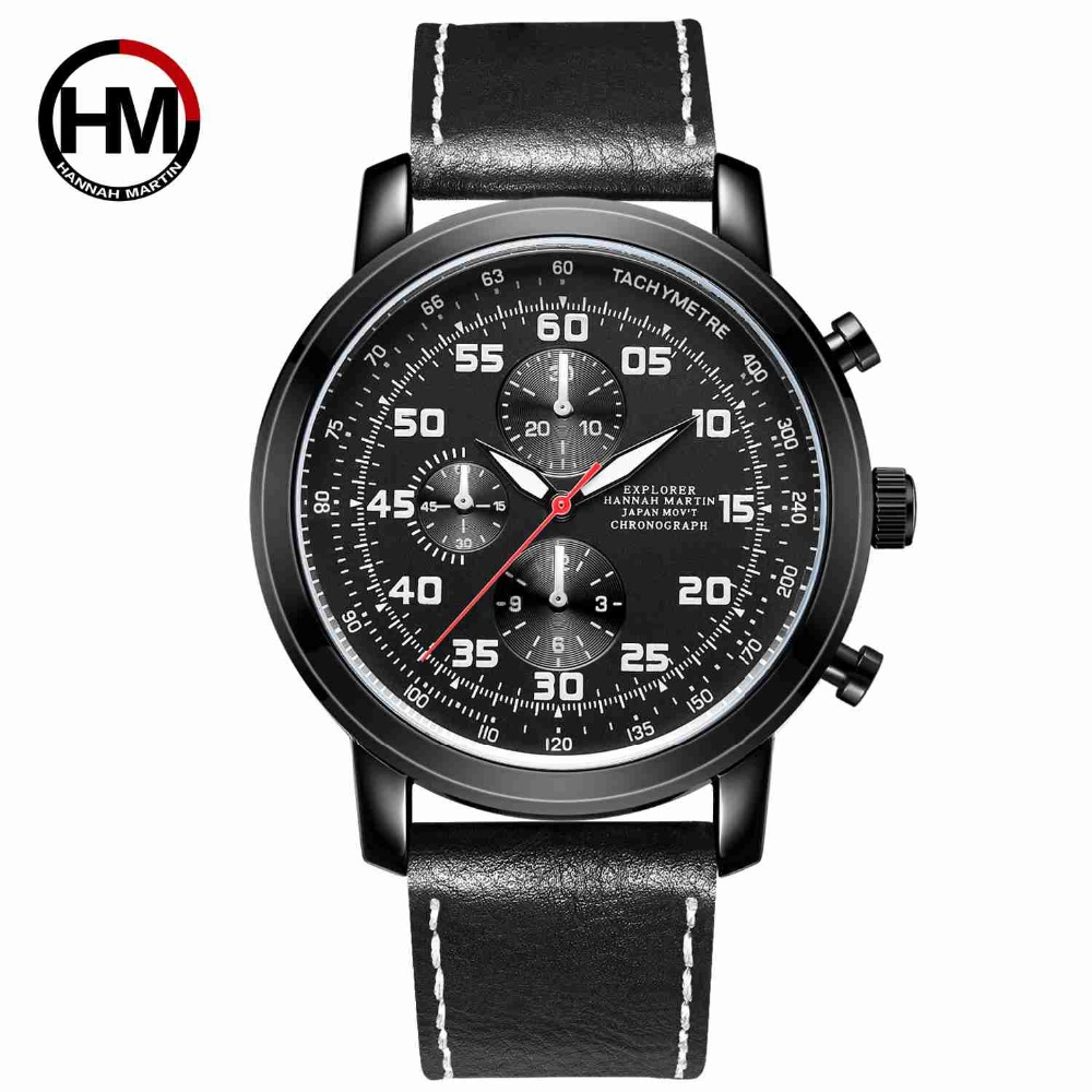Germany watches men luxury brand Nurburgring series multi-function Chronograph watch luminous Leather belt manner sehen Hannah цена